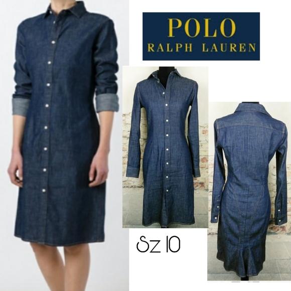 Polo RL dark denim shirt dress. Sz 10